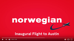 Norwegian Inaugural Flight to Austin Video by Tony Pick